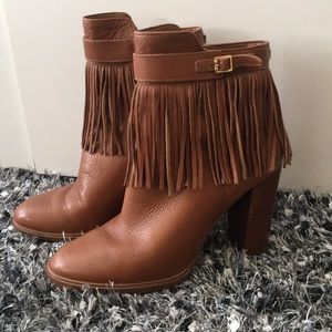 Camel Leather Fringe Booties
